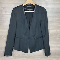 White House Black Market Women's 6 Blazer Pinstriped Black Faux Leather Trim