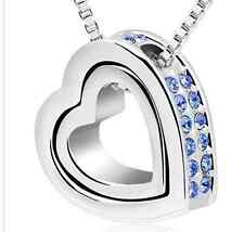 SILVER ALLOY MEXICAN LIGHT BLUE JEWELLED DOUBLE HEART SHAPE PENDANT (N17) + MORE