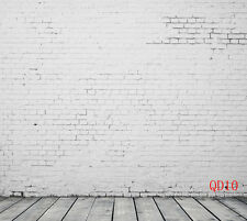 Retro Vinyl Photography Backdrop White Brick Wall Photo Background 5x10ft QD10
