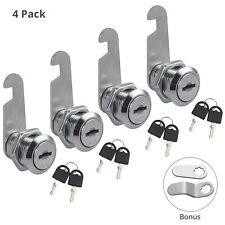 4pack 20mm Cylinder Cam Key Locks Tool Box File Cabinet Desk Drawer With 8 Keys Us