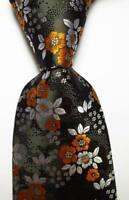 New Classic Floral Black White Orange JACQUARD WOVEN 100% Silk Men's Tie Necktie