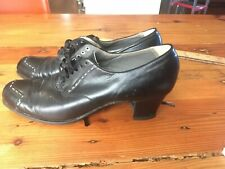 Beautiful Womens Vintage Black Leather Wingtip Brogue Oxfords 7-7.5 NARROW