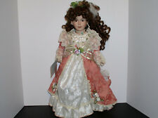 Duck House Heirloom Porcelain Doll with Peach/White Lace Pearls with Tag 18""