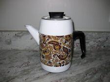 VINTAGE 70'S? ENAMEL COFFEE POT SERVER WITH FLOWER LEAF IMPRINT PATTERN 6 CUP