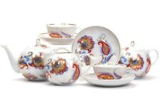 Russian Porcelain Tea set Dulevo 6 pers 15 pc Kuznetsov Porcelain Russian Motif