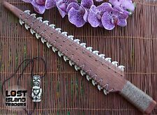 Hawaiian Sword Style Wood Lei-O-Mano Shark Tooth Tiki Lounge Bar Tropical Decor