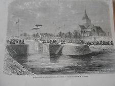 Gravure 1863 - Inauguration de l'écluse de Léry sur l'Eure
