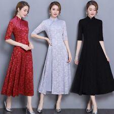Women Ladies Chinese Lace Floral Mandarin Collar Ethnic Long Dress Vintage Qipao