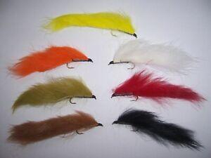 7 mixed colour Minki Lures size 10 - Salmoflies leaded flies (Springwood Joe's)