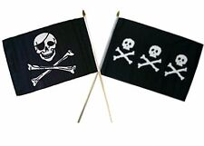 "12x18 12""x18"" Wholesale Combo Pirate Eye Patch & Chris Condent Skulls Stick Flag"