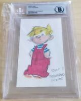 Ron Ferdinand Dennis the Menace Hand Drawn Signed Sketch BECKETT Slabbed Auto