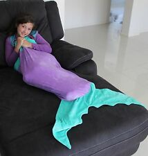 Girls Super Soft Mermaid Tail Blanket Purple and Aqua for Ages 2-8 Years