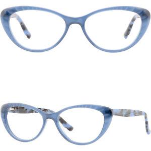 Blue Womens Cateye Plastic Frame Spring Hinges Hinged Acetate Glasses Eyeglasses