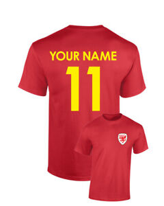 Personalised Wales Football Cotton T-Shirt Name Number Birthday Custom Euros