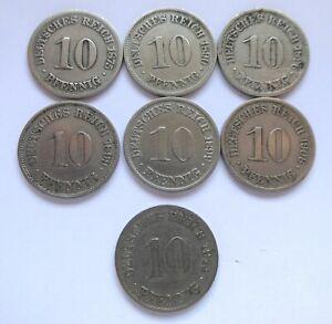 GERMANY – Empire – 7x10 pfennig 1875-1914 – VG/VF