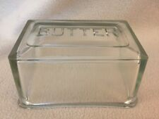 Vintage Antique Clear Glass Depression Rectangle 1 Lb. Butter Dish Top Lid