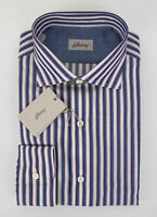 NIB BRIONI Blue Striped Cotton Slim Fit Dress Shirt Size Large $595