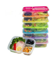 Meal Prep Containers 3-Compartment Lunch Boxes Food Storage with Lids Set of 1-6