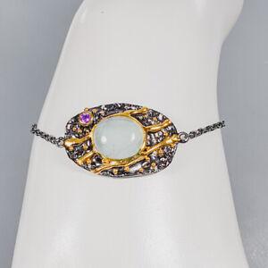 Aquamarine Bracelet 925 Sterling Silver Jewelry Unique Design Inches 7/BR04054