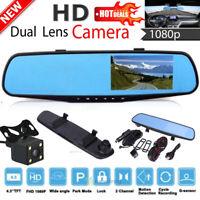 "4.3"" HD 1080P Dual Lens Car Dash Cam DVR Rearview Mirror Camera Video Recorder"
