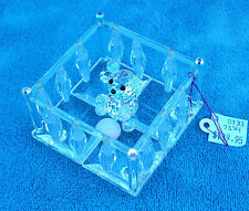 Crystal Playpen With Crystal Bear Baby Figurine W/Pastel Marble By Mobex Crystal