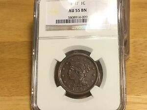 1847 LARGE CENT NGC AU55 BN FREE SHIPPING! PENNY PRE CIVIL WAR R_4 TYPE COPPER!