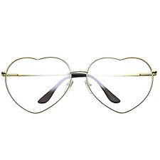 Clear Lens Heart Glasses Gold Fashion Sun glasses Retro Vintage Style Shaped