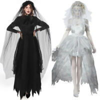 European Women Halloween Cosplay Horror Ghost Bride Skirt Vampire Dress Costume