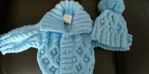 Aran jacket and  hat set -blue - 0 to 3 months