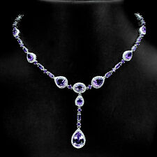 Sterling Silver 925 Genuine Natural Deep Purple Amethyst Necklace 18.5 - 20.5 In