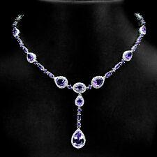 Plata esterlina 925 genuina amatista púrpura profundo Natural Collar 18.5 - 20.5 en