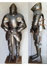 Medieval Wearable Pigface Bascinet Full Armor Suit With Chain Mail leather strap