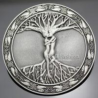 Vintage Silver Celtic Tree Of Life Love Nordic Mythology Belt Buckle Pagan Wicca