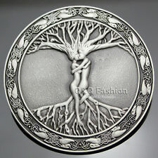 Vintage Silver Celtic Tree Of Life Love Nordic Mythology Belt Buckle Pagan Wicca