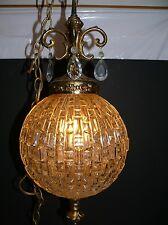 Vtg Hollywood Regency Clear Glass Ball Globe Prisms Hanging Swag Chandelier Lamp