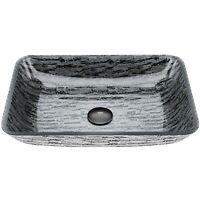 VIGO Glass Rectangular Vessel Bathroom Sink in Titanium Gray VG07085