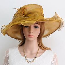 New Church Kentucky Derby Wedding Party Organza Wide Brim Dress Hat 388 GOLD