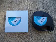 2 LETRA compatible Dymo Tag LT 91201 PLASTIC BLACK  WHITE LABELS Tapes 12MM x 4M