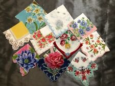 New listing Vintage Ladies Hankies Handkerchiefs Lot of 10 All Florals Bright Colors! #1L