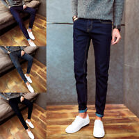 Men Middle Waist Trousers Denim Jeans Slim Fit Skinny Stretch Long Pants