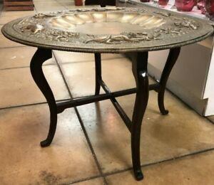 Vintage Egyptian/ Indian Brass Tray Top Coffee Table Folding Wooden Base Legs