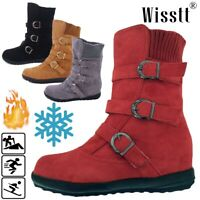Winter Women's Suede Warm Snow Boots Fur Lined Buckle Flats Mid Calf Ankle Shoes