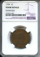1794 LARGE CENT 1C LIBERTY CAP NGC POOR (DETAILS DAMAGE)