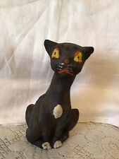 Vintage Halloween Black Cat Paper mache Candy Container