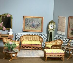 1:16 Dollhouse cane rattan living room set sofa yellow leaves - Lundby scale