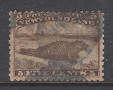 Newfoundland Sc 25 used. 1865 5c brown Harp Seal, sound