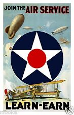 Join The AIR SERVICE Army Air Force WWI Military Fine Art Print / Poster