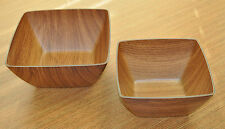Microwave and Freezer-Safe 2 Piece Square Bowl Set Beech or Mahogany Design