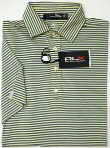 NWT $89 Polo Ralph Lauren RLX SS Blue Yellow Striped Shirt Mens UPF 40+ Wicking