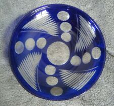 Bohemian/Czech Cobalt Blue Cut to Clear ART DECO style 9-3/4in. Dish/Bowl